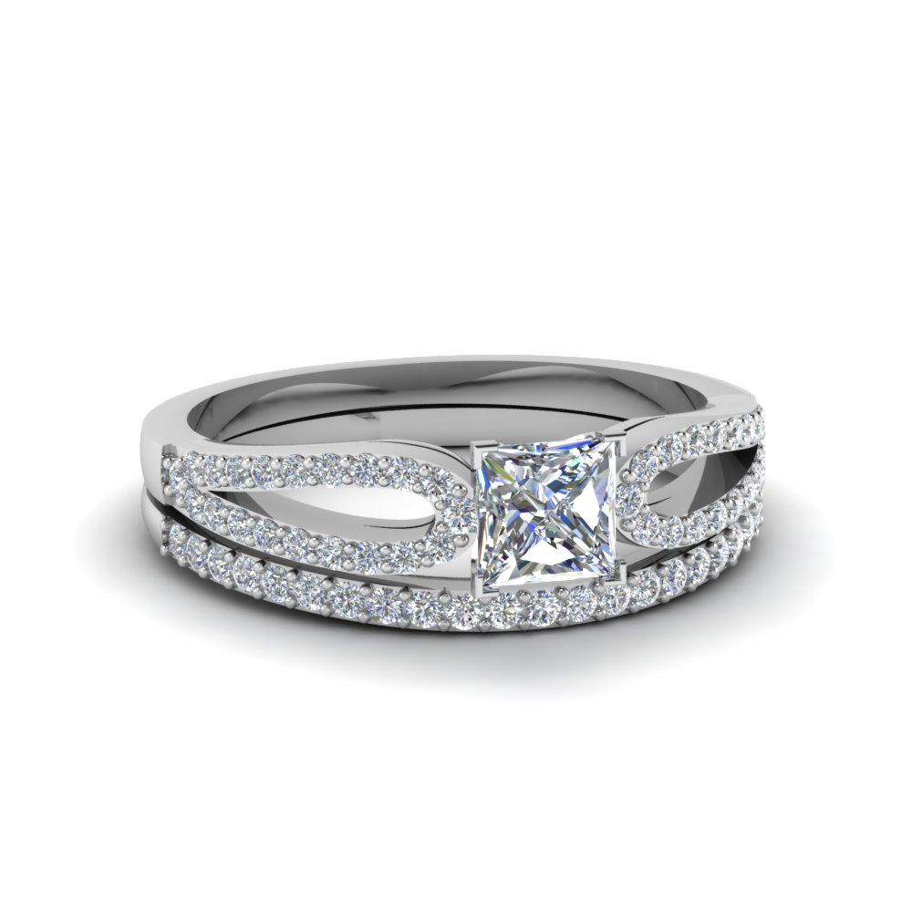 White Gold Princess Cut Wedding Sets