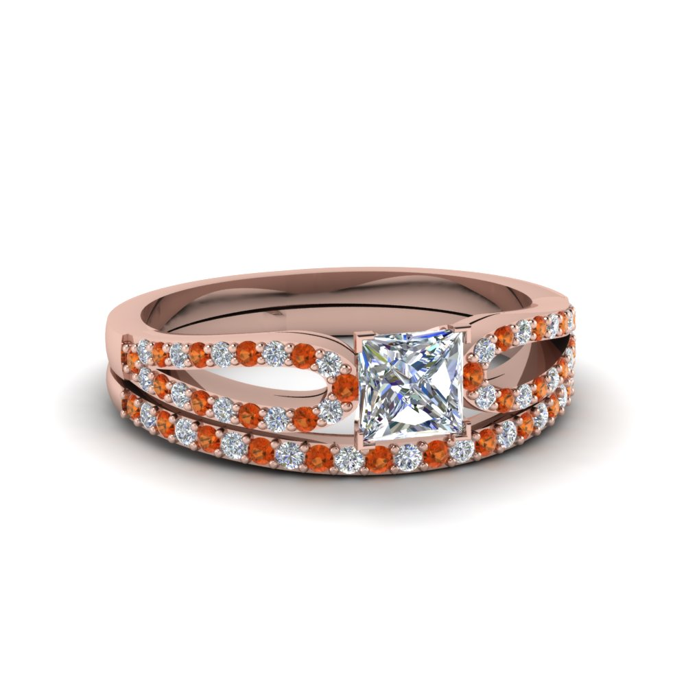 princess cut loop diamond ring with orange sapphire matching band in 18K rose gold FDENS3323PRGSAOR NL RG