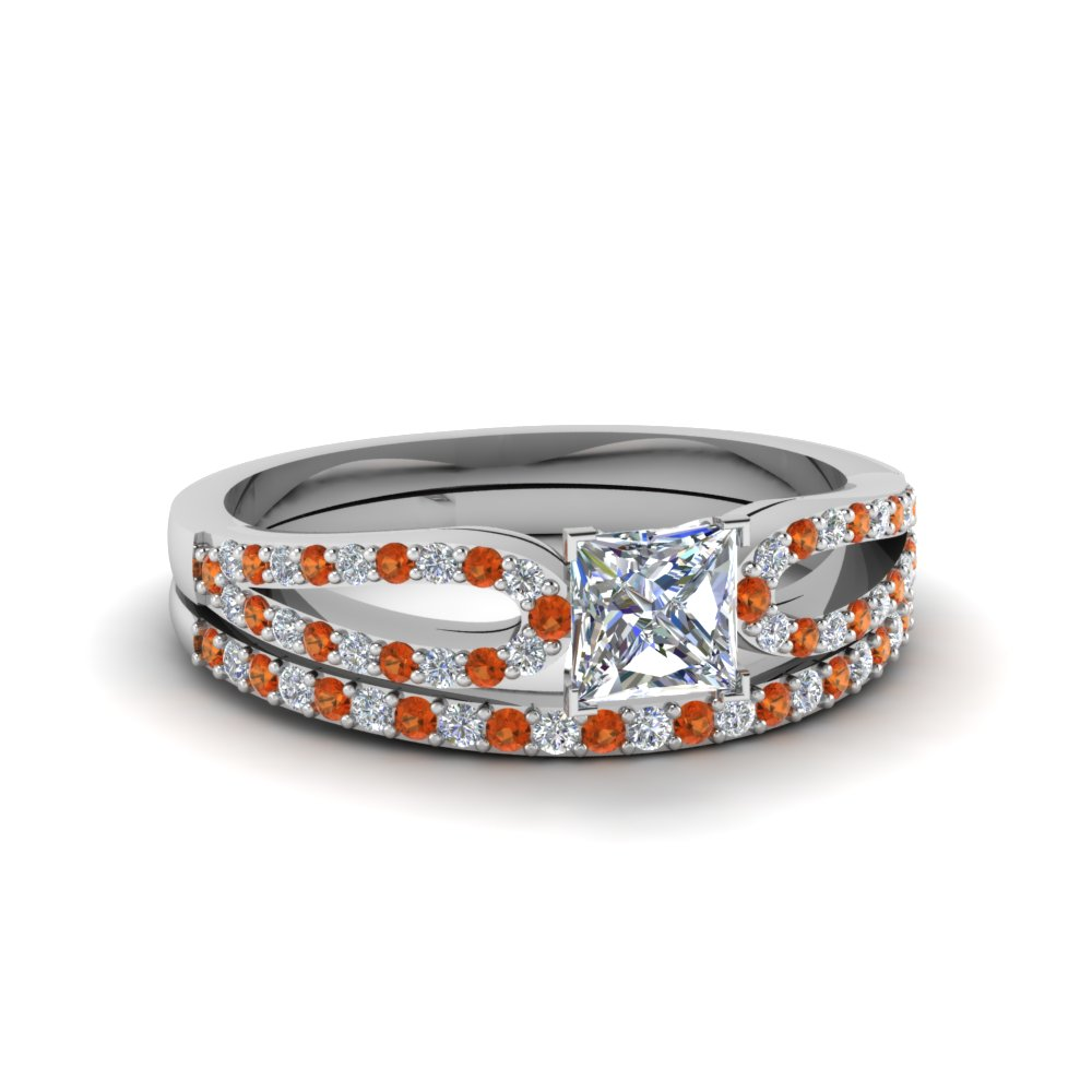princess cut loop diamond ring with orange sapphire matching band in 18K white gold FDENS3323PRGSAOR NL WG