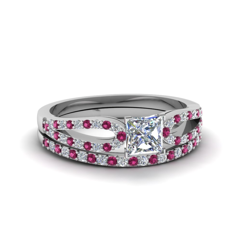 princess cut loop diamond ring with pink sapphire matching band in 14K white gold FDENS3323PRGSADRPI NL WG