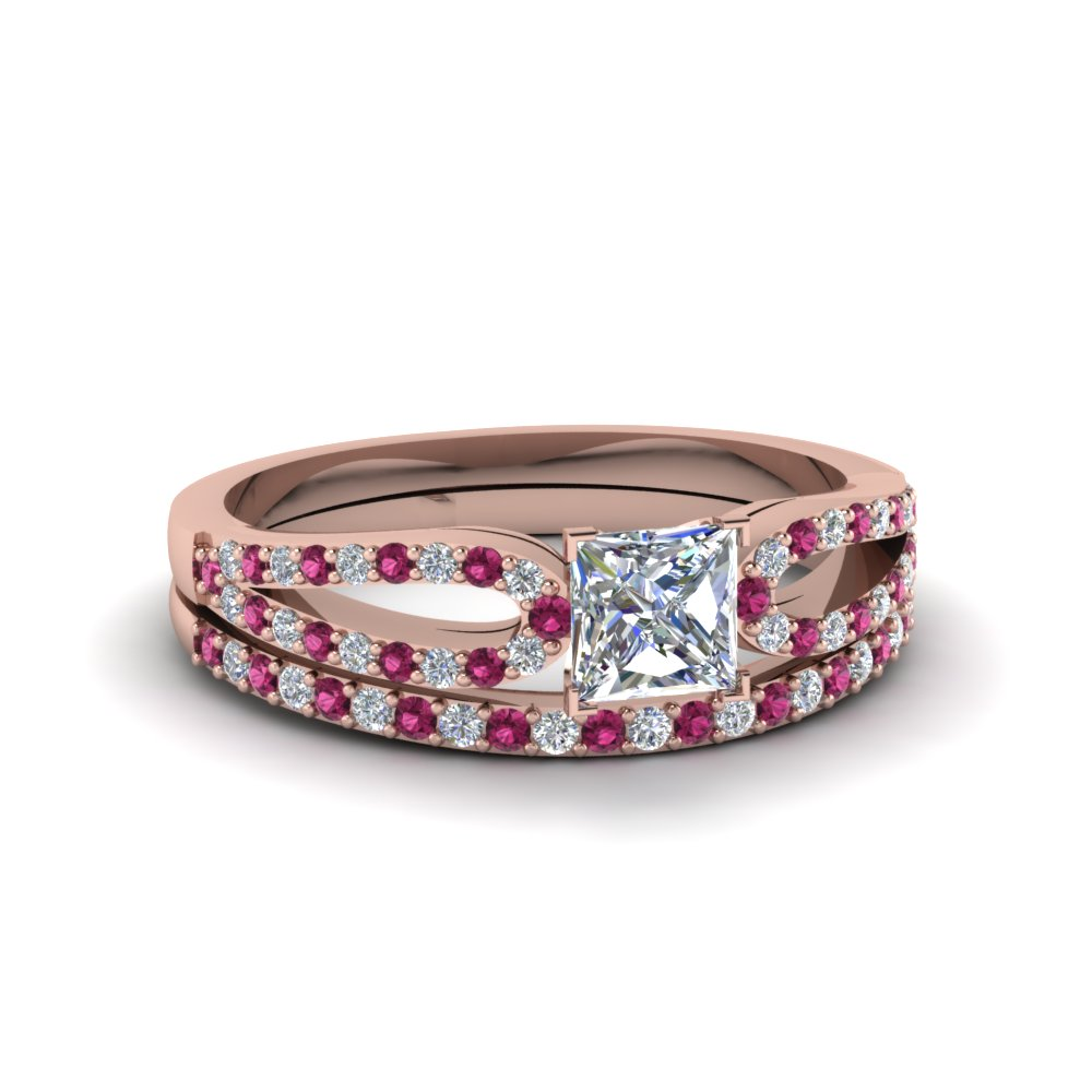 princess cut loop diamond ring with pink sapphire matching band in 18K rose gold FDENS3323PRGSADRPI NL RG