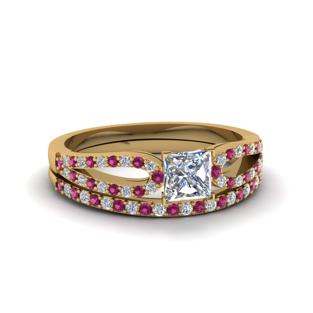 princess cut loop diamond ring with pink sapphire matching band in 18K yellow gold FDENS3323PRGSADRPI NL YG