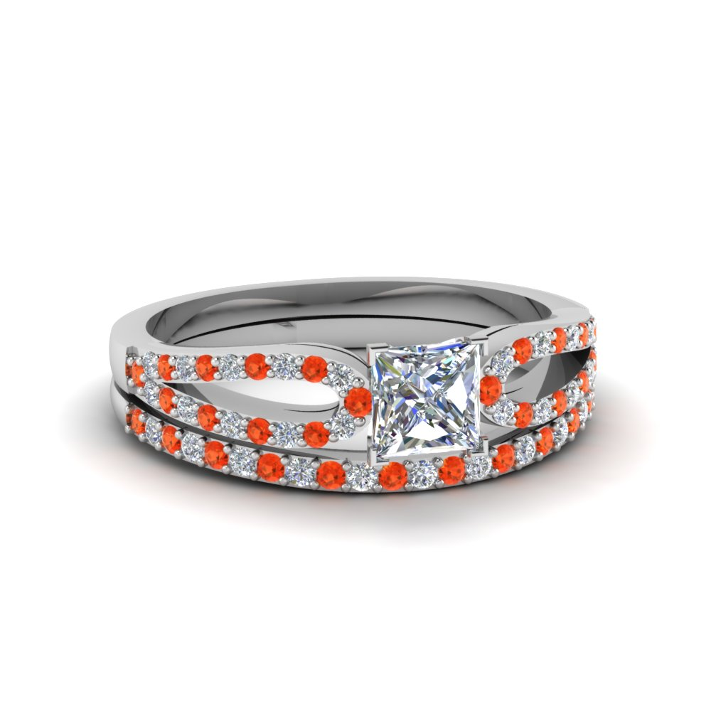 princess cut loop diamond ring with orange topaz matching band in 14K white gold FDENS3323PRGPOTO NL WG