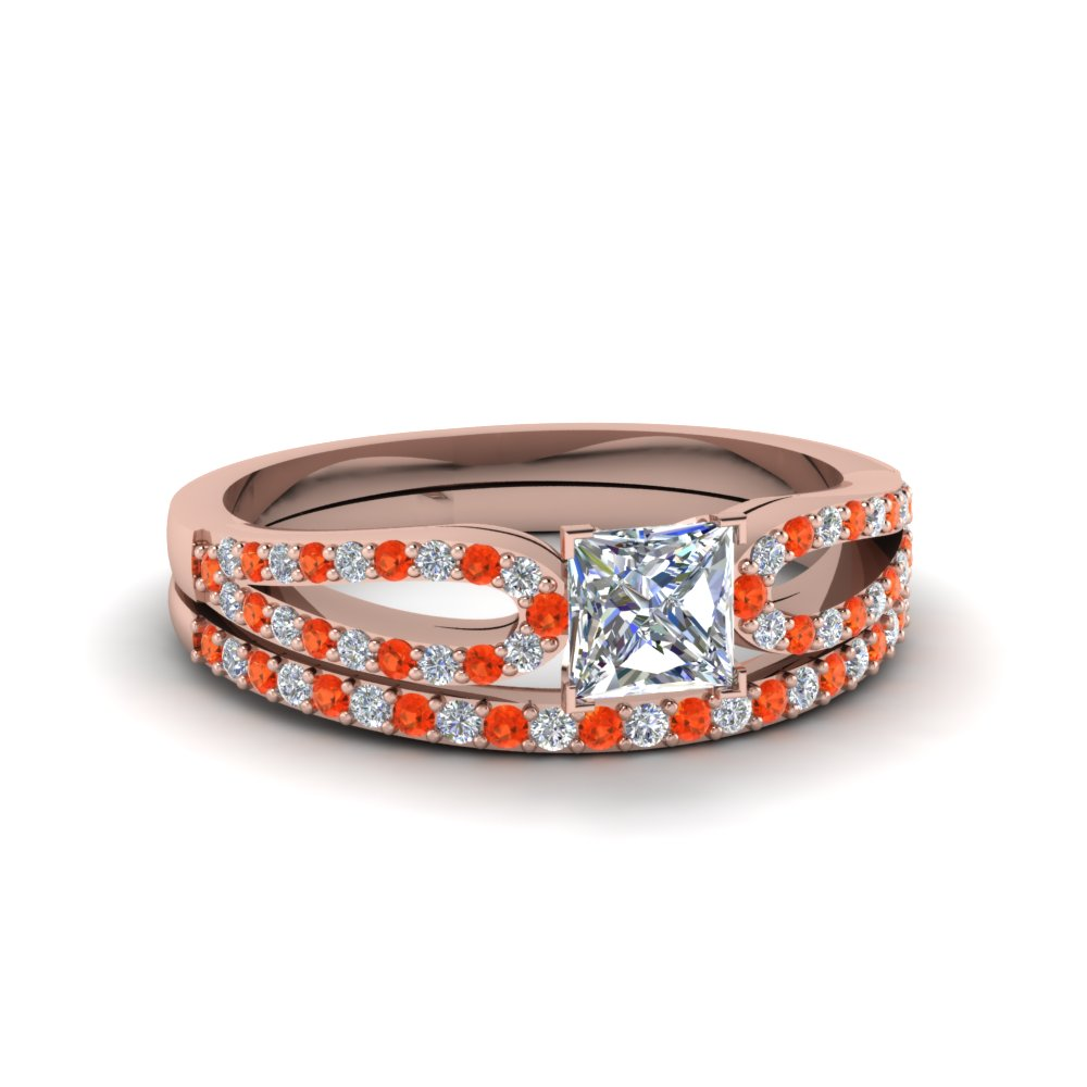 princess cut loop diamond ring with orange topaz matching band in 18K rose gold FDENS3323PRGPOTO NL RG