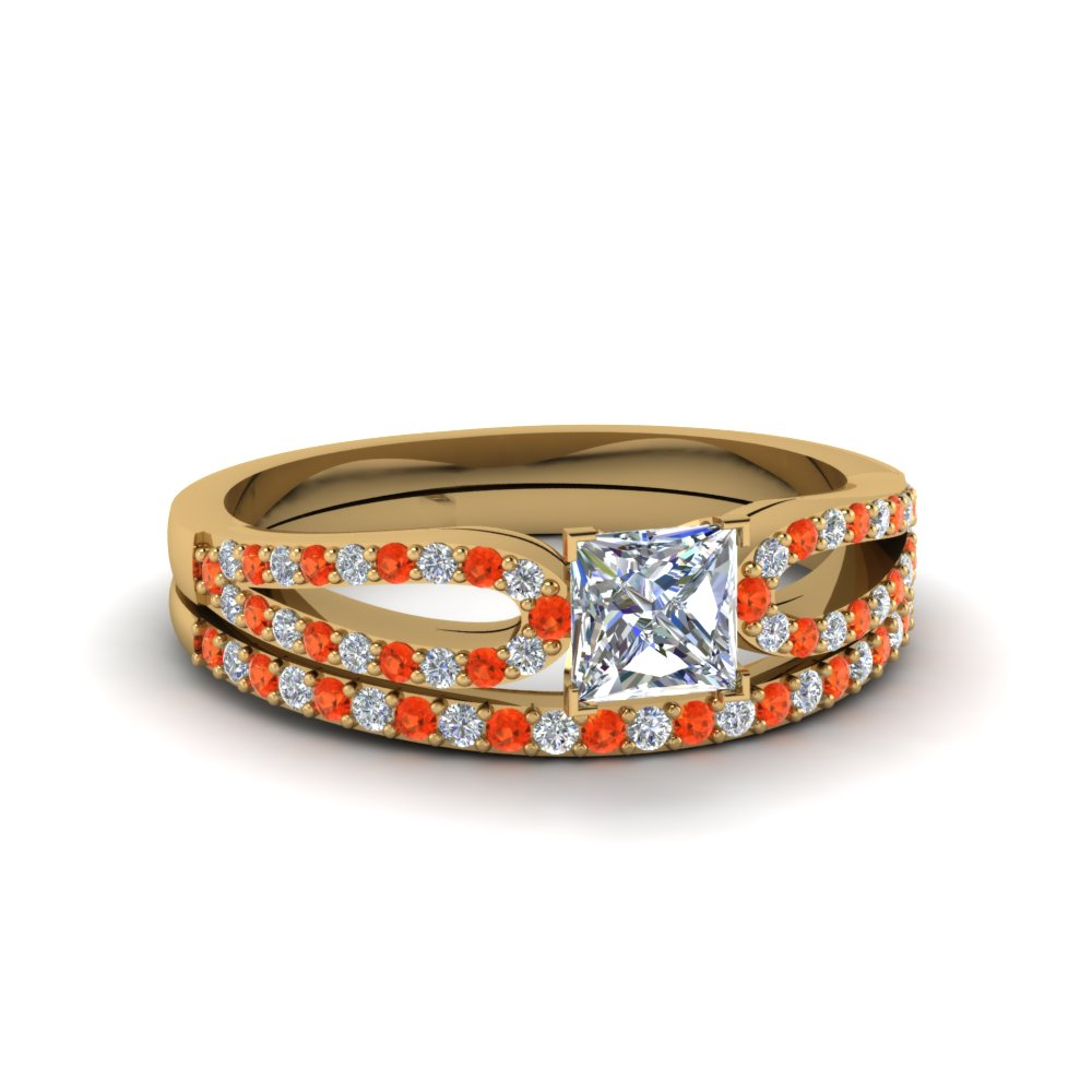 princess cut loop diamond ring with orange topaz matching band in 18K yellow gold FDENS3323PRGPOTO NL YG
