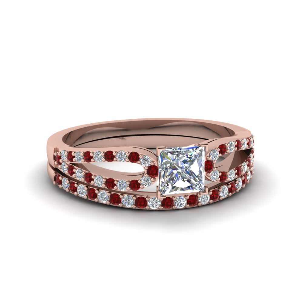 princess cut loop diamond ring with ruby matching band in 14K rose gold FDENS3323PRGRUDR NL RG