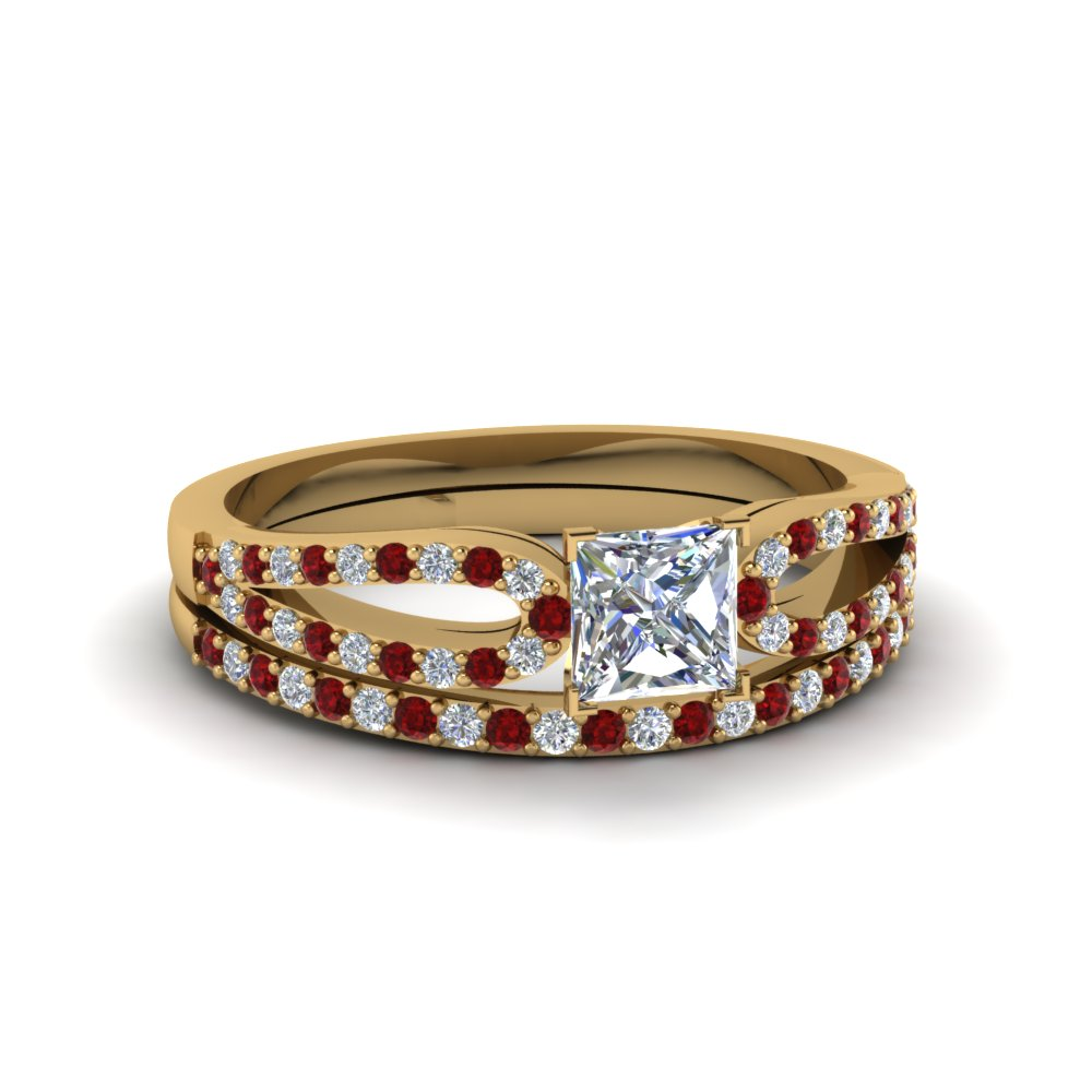 princess cut loop diamond ring with ruby matching band in 14K yellow gold FDENS3323PRGRUDR NL YG