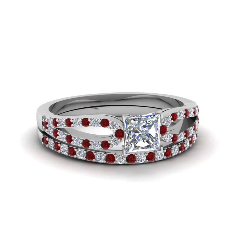 princess cut loop diamond ring with ruby matching band in 18K white gold FDENS3323PRGRUDR NL WG