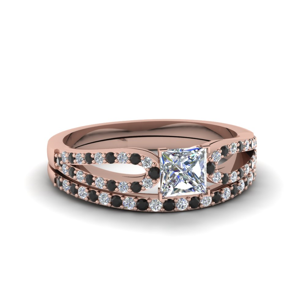 princess cut loop ring with black diamond matching band in 14K rose gold FDENS3323PRGBLACK NL RG