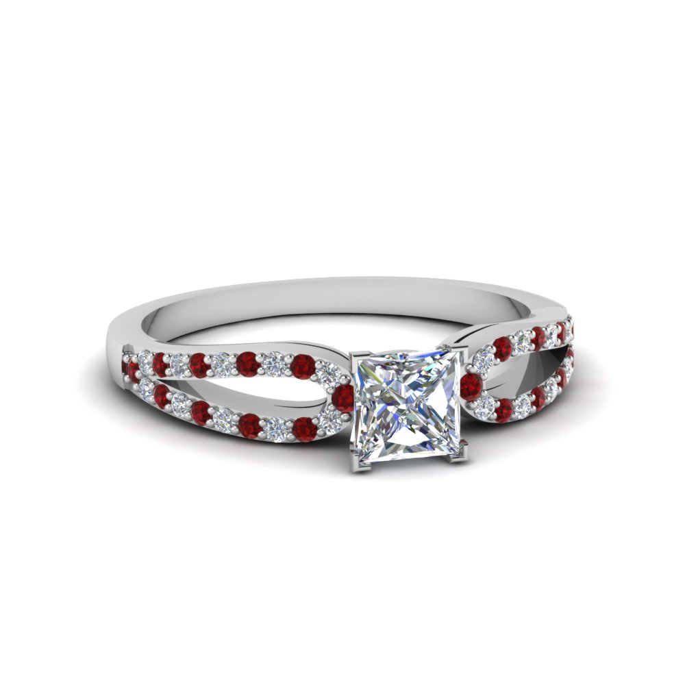 Princess Cut Ruby Petite Engagement Rings