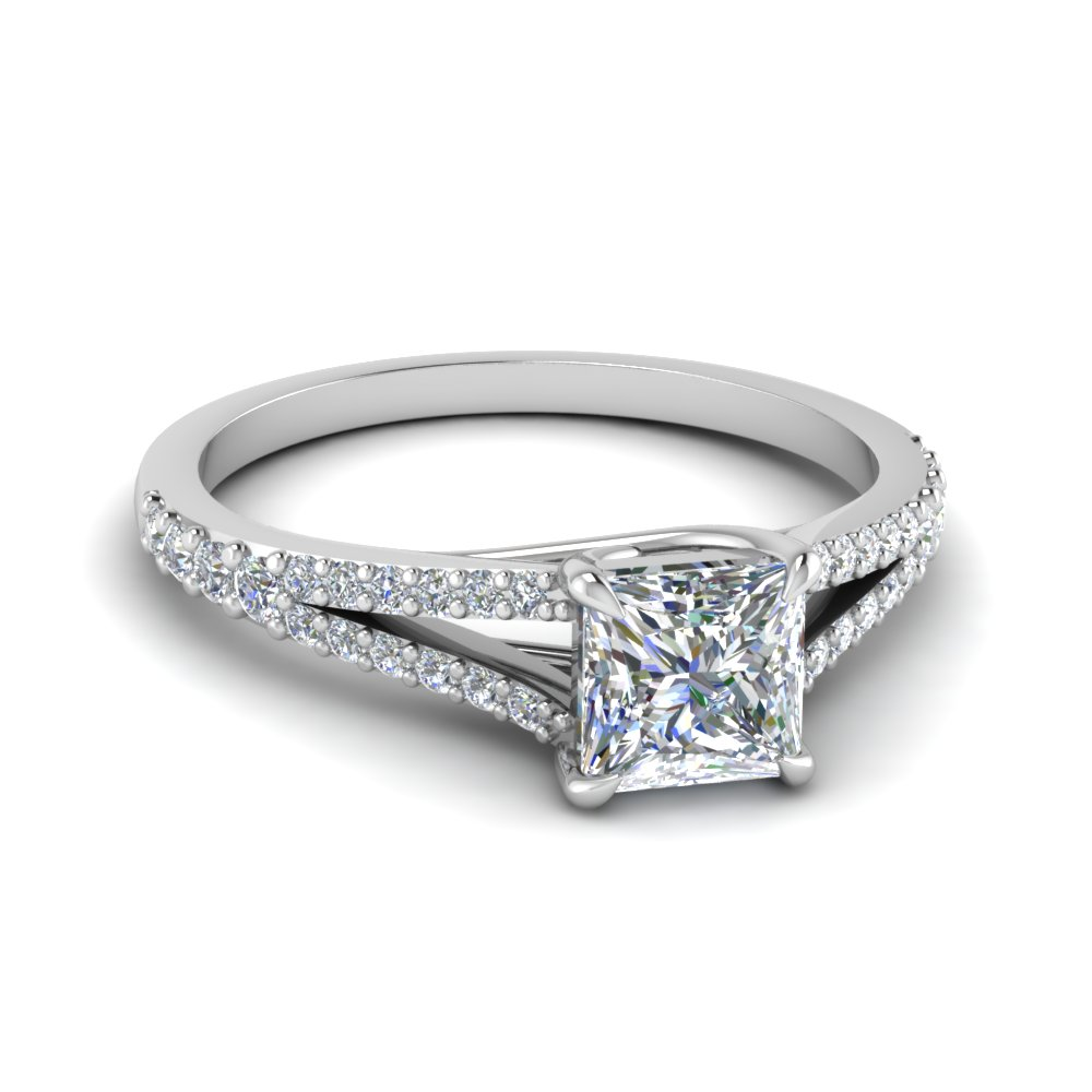 Square Split Diamond Engagement Ring
