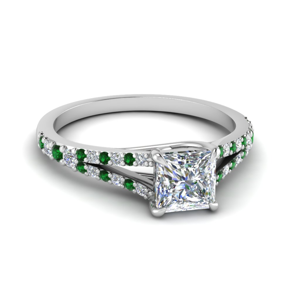 160491099 Princess Cut Lucida Square Split Diamond Ring With Emerald In 18K ...