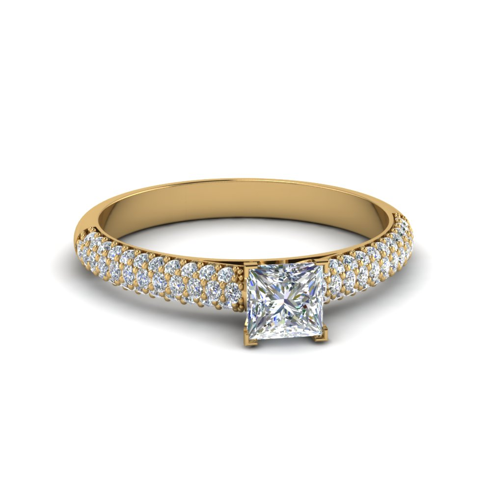 princess cut micropave natural diamond engagement ring in 14K yellow gold FD8254PRR NL YG