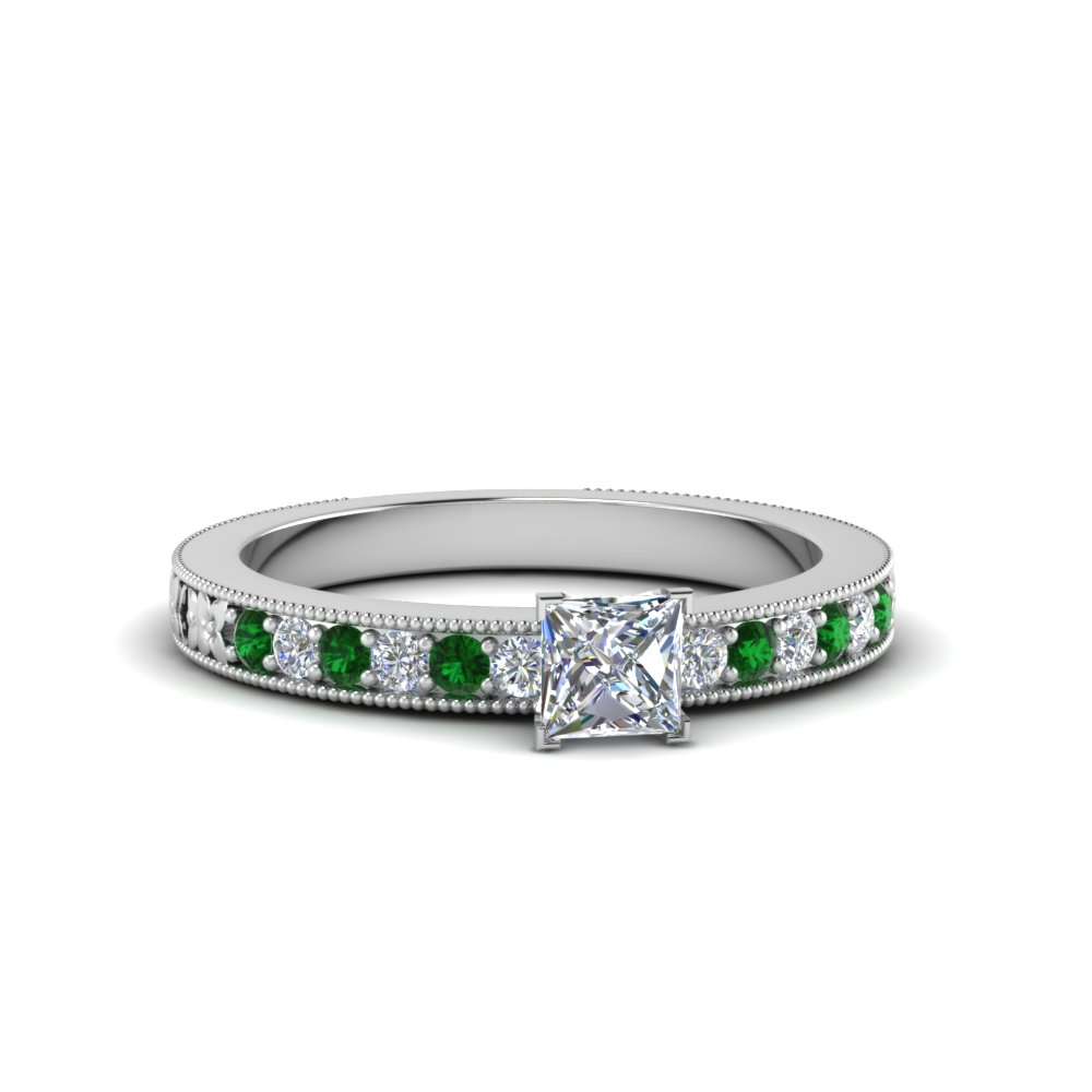 Princess Cut Milgrain Accent Diamond Engagement Ring With Emerald In 14K Whit