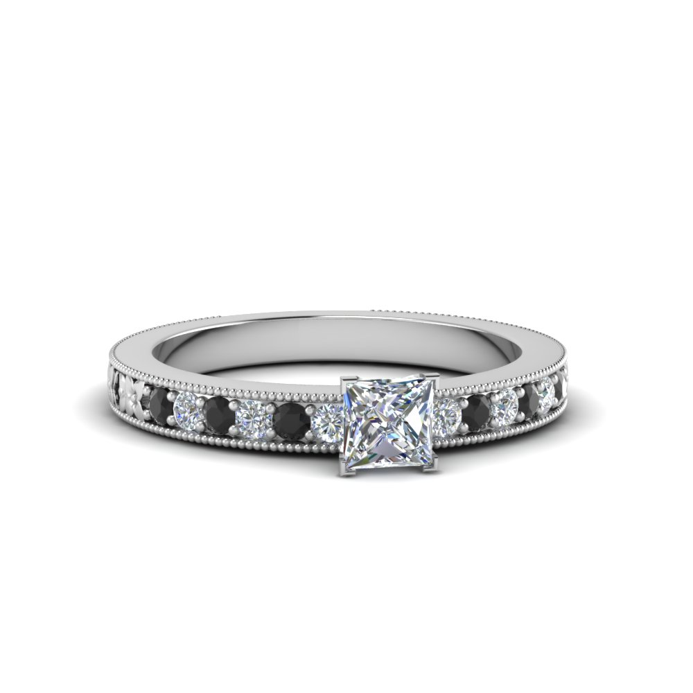 princess cut milgrain accent engagement ring with black diamond in FDENS3516PRRGBLACK NL WG