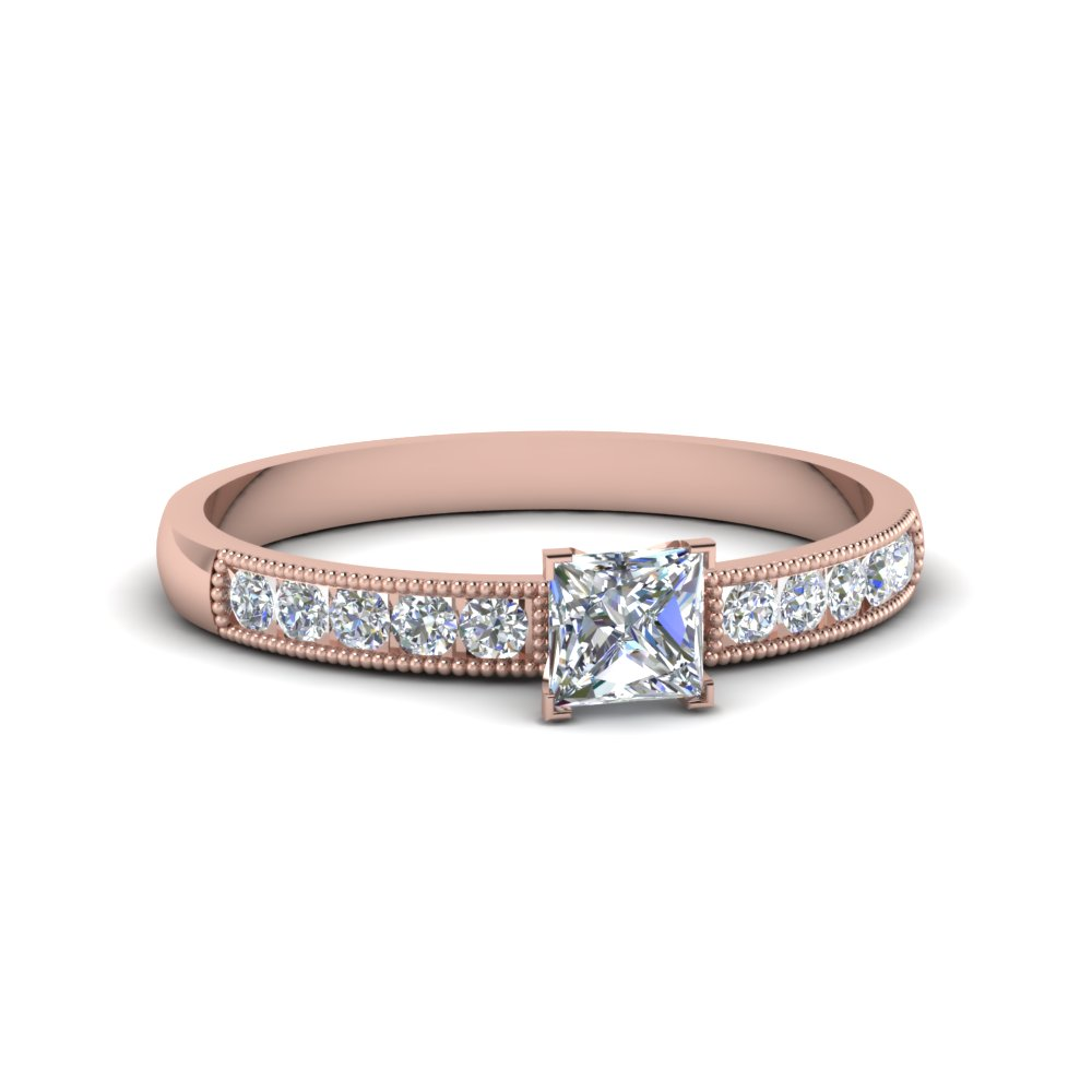 princess cut milgrain design diamond engagement ring in 18K rose gold FDENS3054PRR NL RG