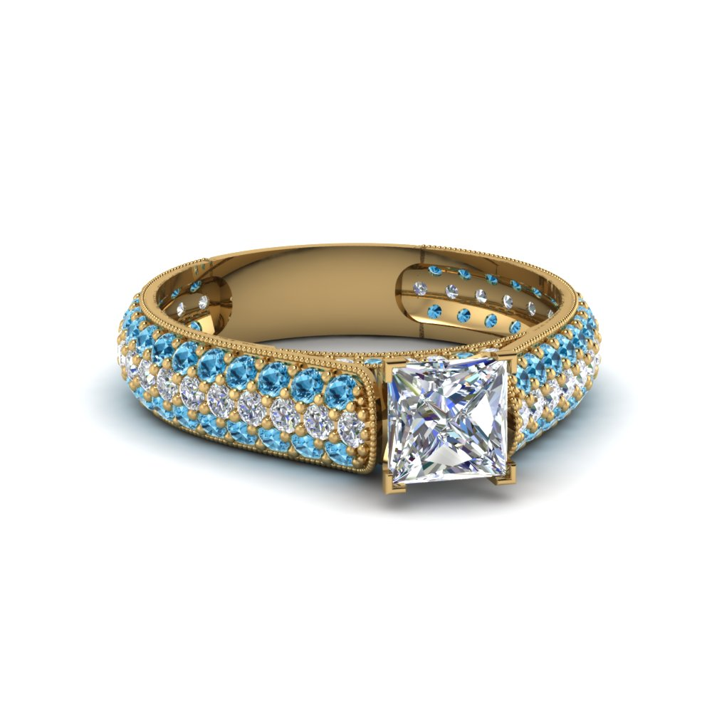 princess cut milgrain multi row pave diamond engagement ring with blue topaz in 18K yellow gold FDENS1452PRRGICBLTO NL YG
