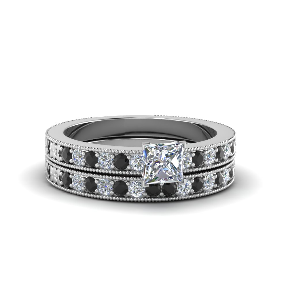 princess cut milgrain pave bridal set with black diamond in FDENS3516PRGBLACK NL WG