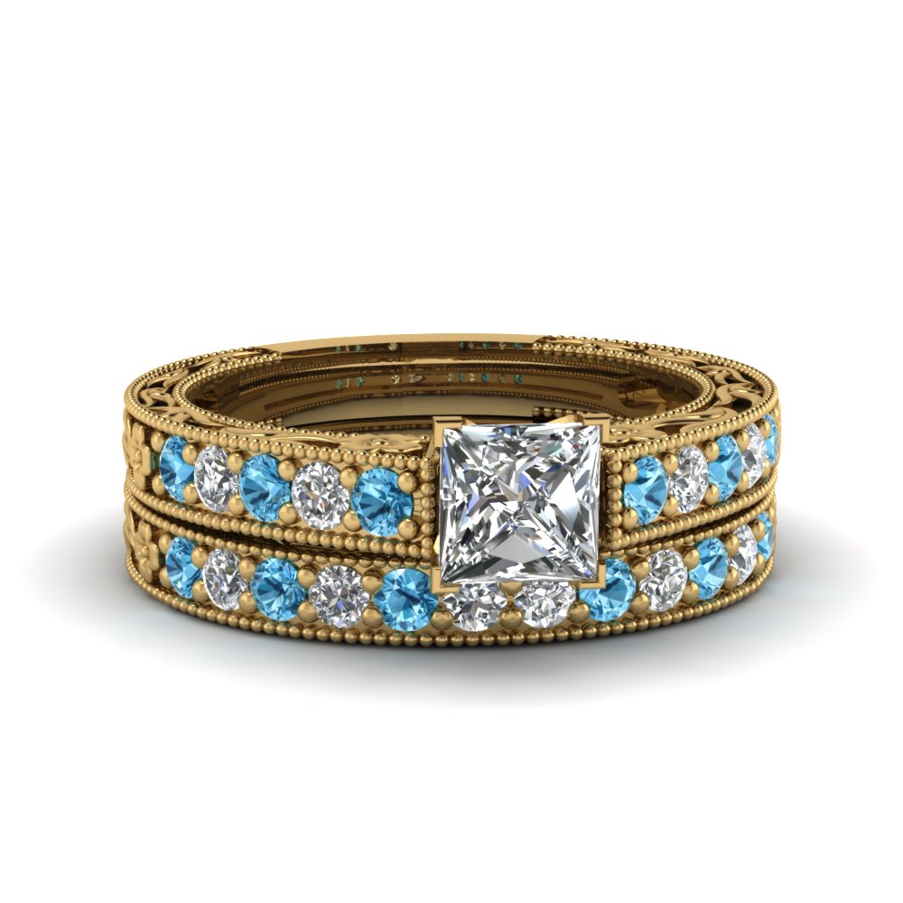 princess cut milgrain pave lab diamond wedding ring sets with blue topaz in FDENS3506PRGICBLTO NL YG