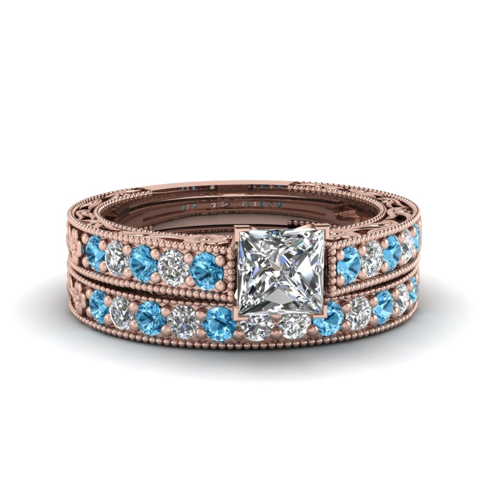 princess cut milgrain pave diamond wedding ring sets with blue topaz in FDENS3506PRGICBLTO NL RG