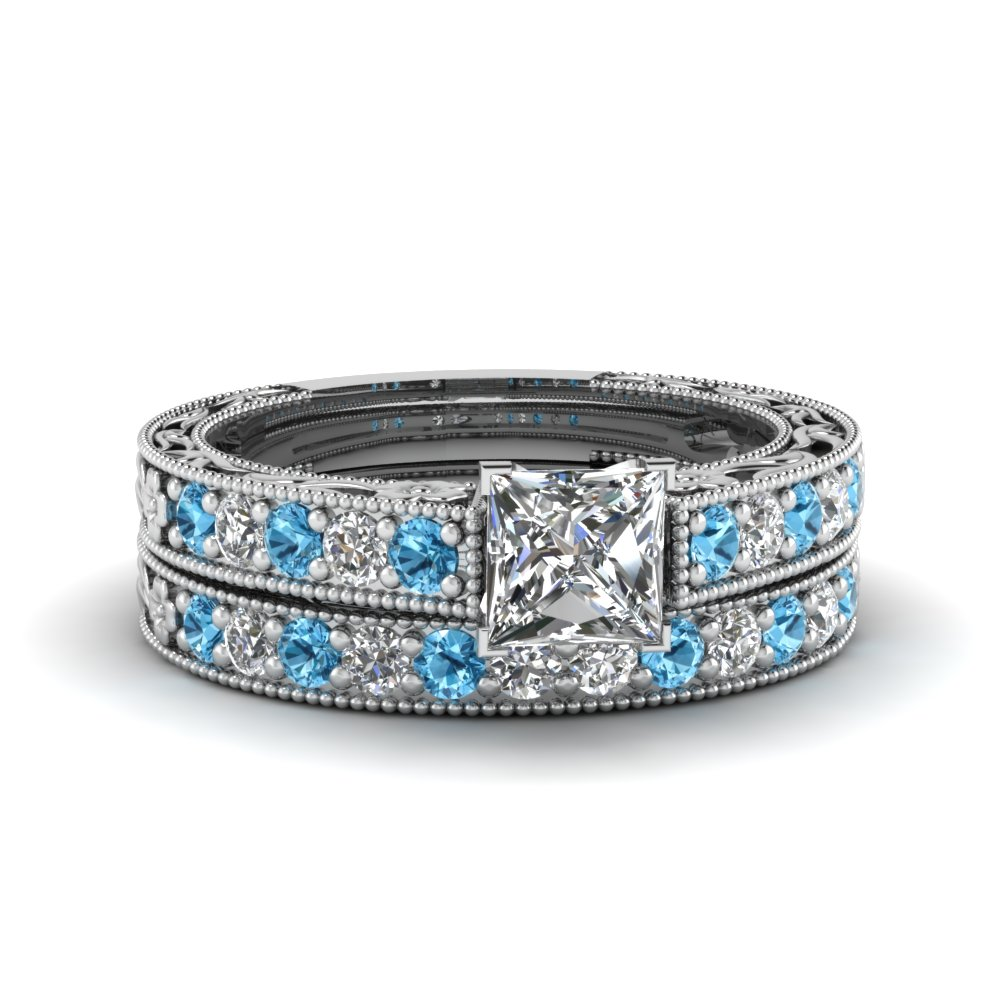 princess cut milgrain pave diamond wedding ring sets with blue topaz in FDENS3506PRGICBLTO NL WG