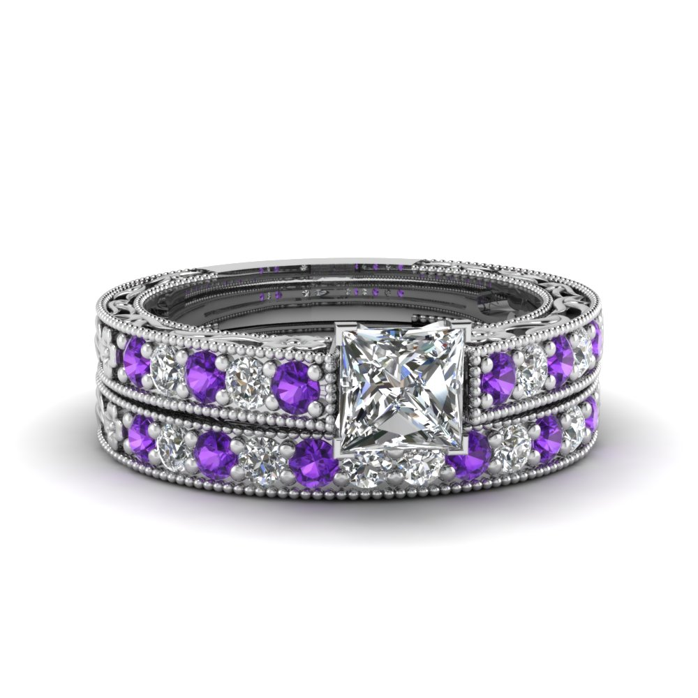 princess cut milgrain pave lab diamond wedding ring sets with purple topaz in FDENS3506PRGVITO NL WG