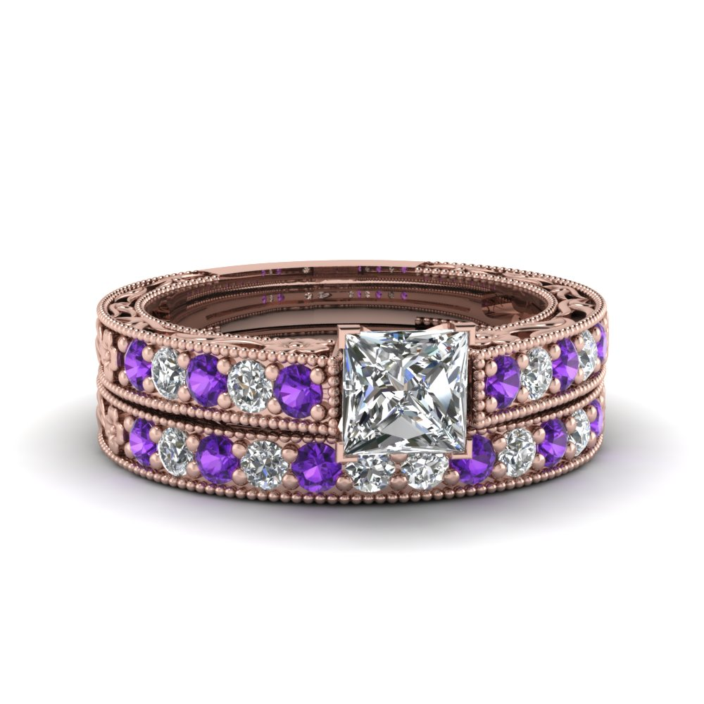 princess cut milgrain pave moissanite wedding ring sets with purple topaz in FDENS3506PRGVITO NL RG