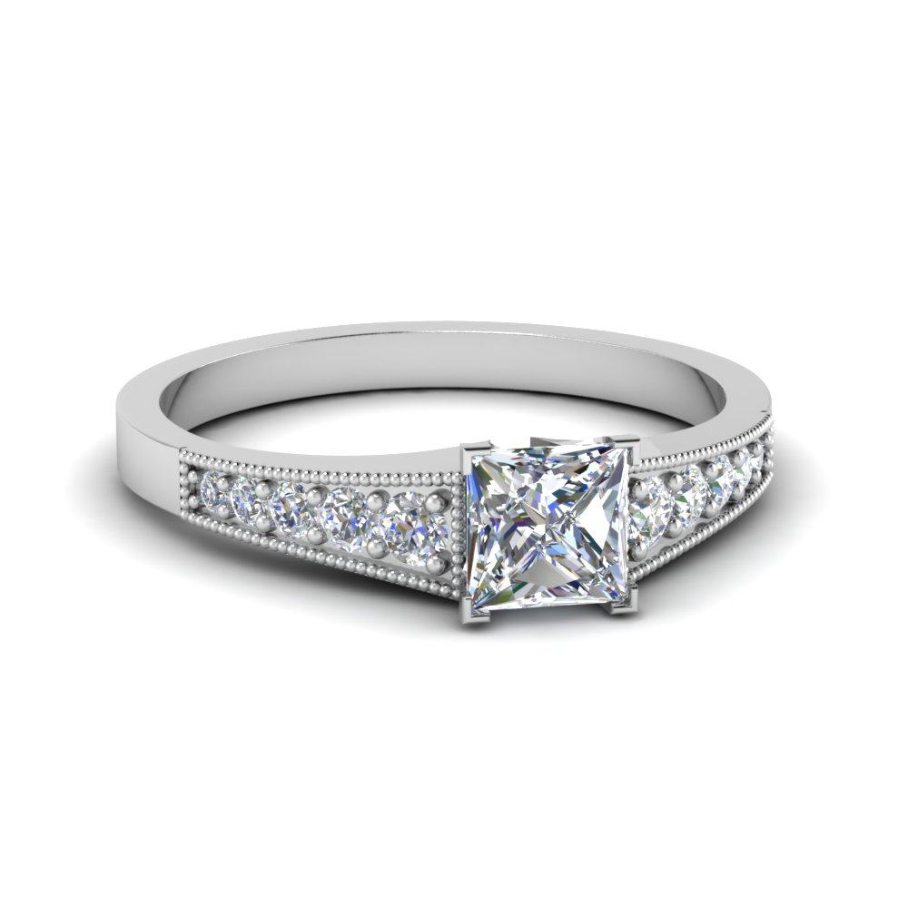 Certified Platinum Princess Cut Diamond Ring