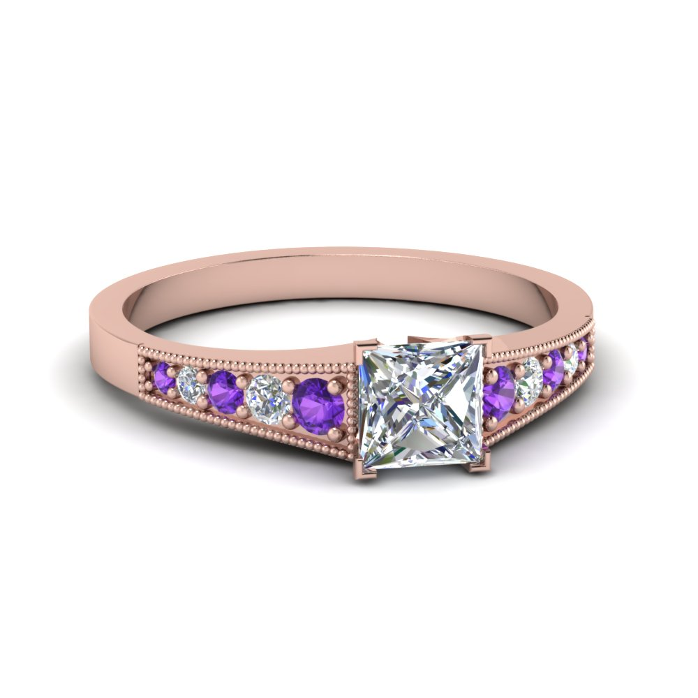 Pave Set Diamond Purple Topaz Ring