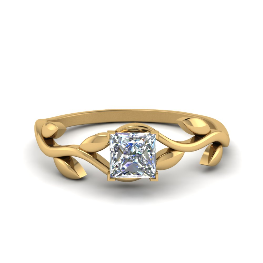 princess cut nature inspired single diamond leaf engagement ring in FD8400PRR NL YG