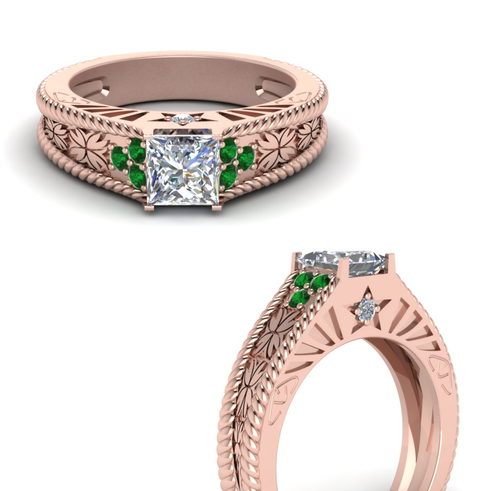 princess-cut-natured-inspired-vintage-diamond-engagement-ring-with-emerald-in-FDENR2934PRRGEMGRANGLE3-NL-RG