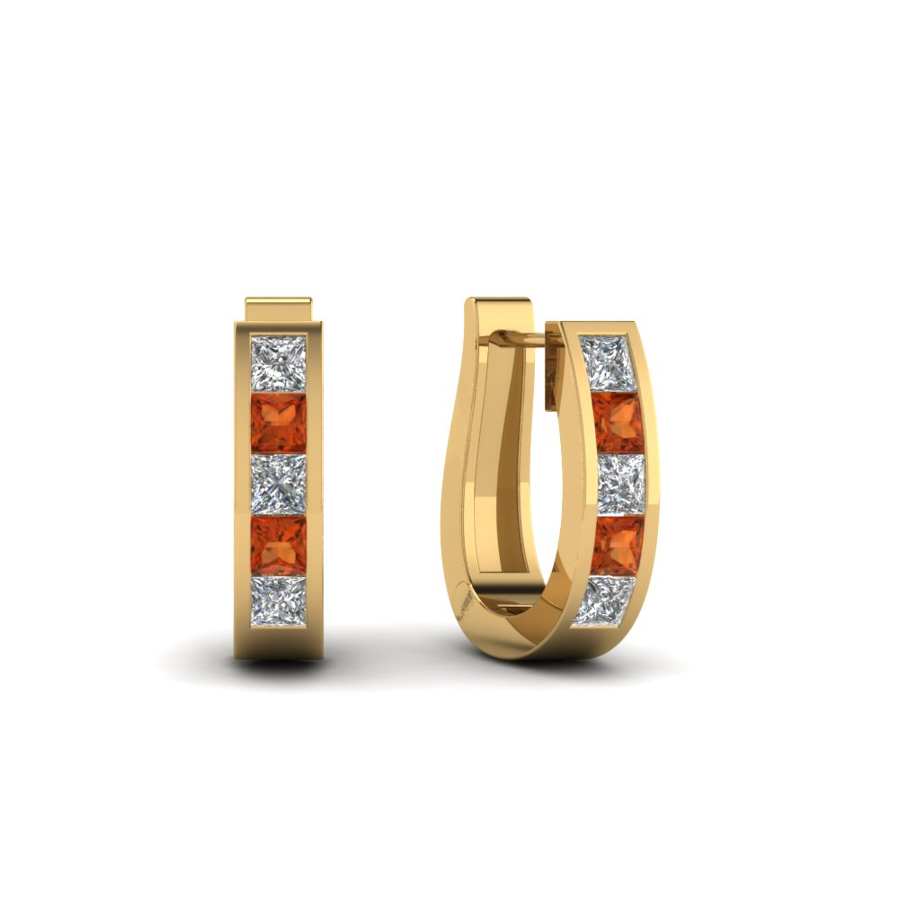 huggie-diamond-hoop-earring-with-orange-sapphire-in-FDEAR1018GSAOR-YG