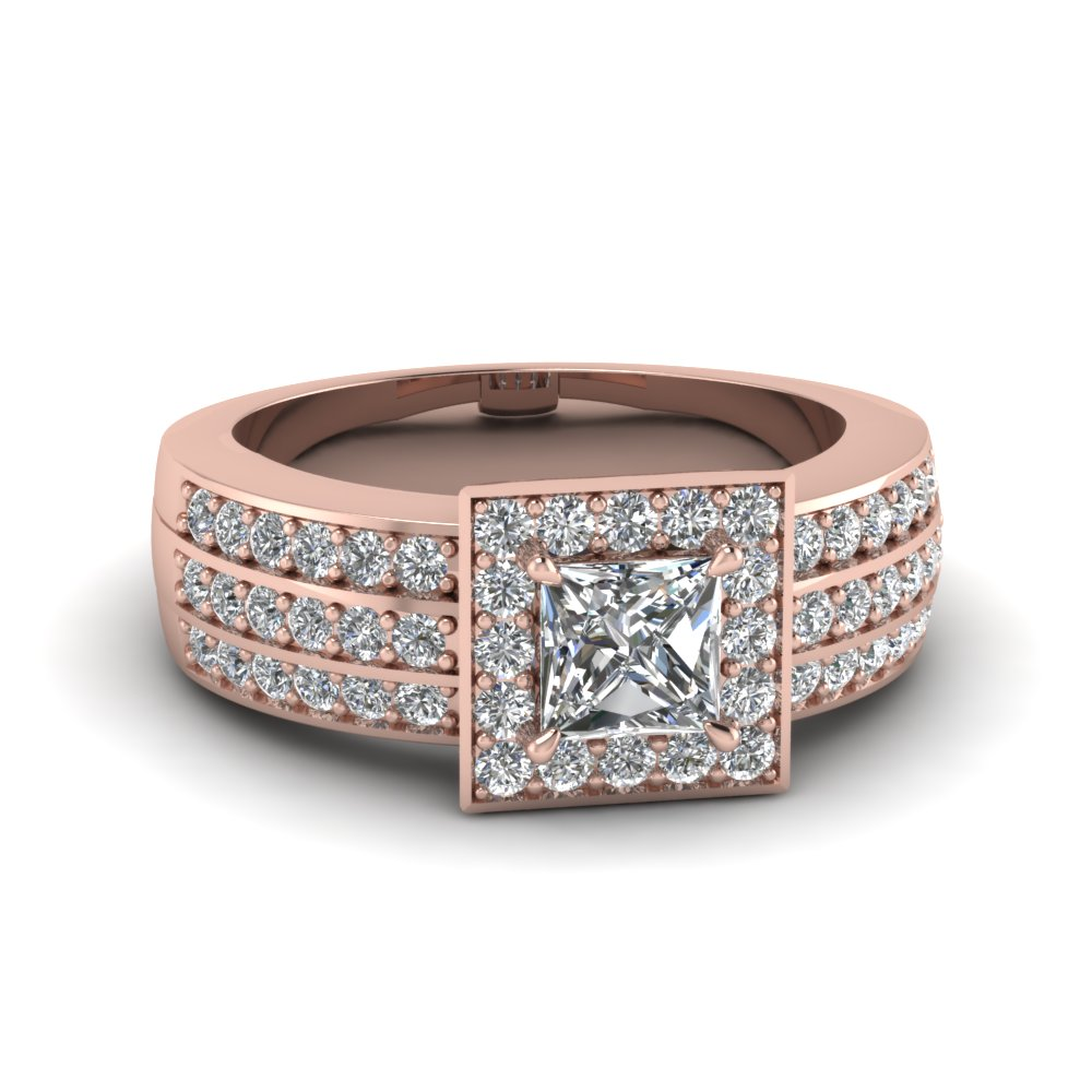 Pave 3 Row Halo Wide Ring