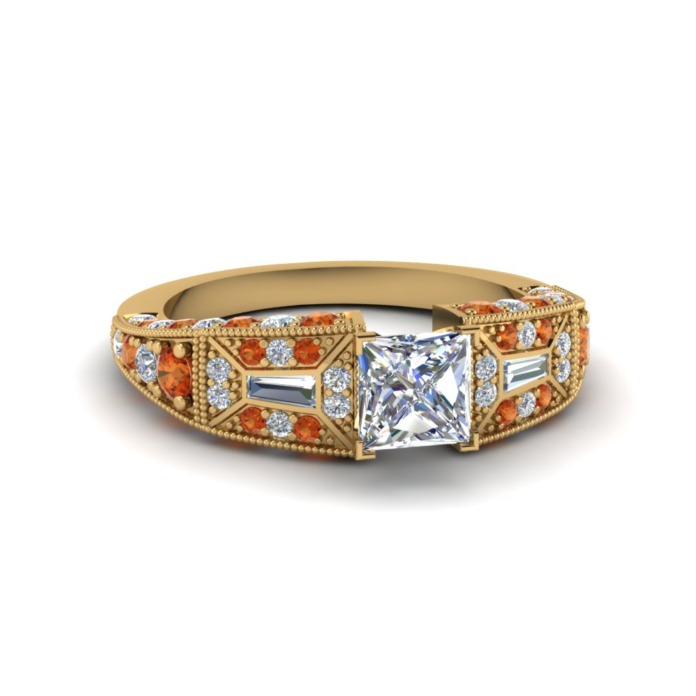 princess cut victorian vintage style diamond engagement ring with orange sapphire in FDENR8601PRRGSAOR NL YG