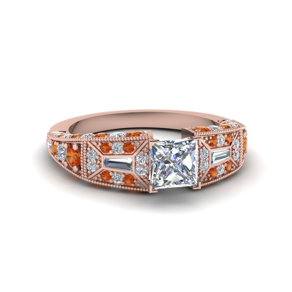 princess cut victorian vintage style diamond engagement ring with orange sapphire in FDENR8601PRRGSAOR NL RG