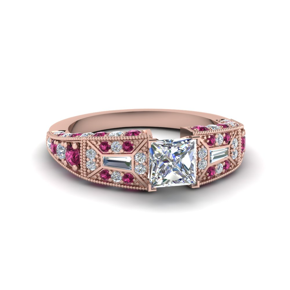 princess cut victorian vintage style diamond engagement ring with pink sapphire in FDENR8601PRRGSADRPI NL RG