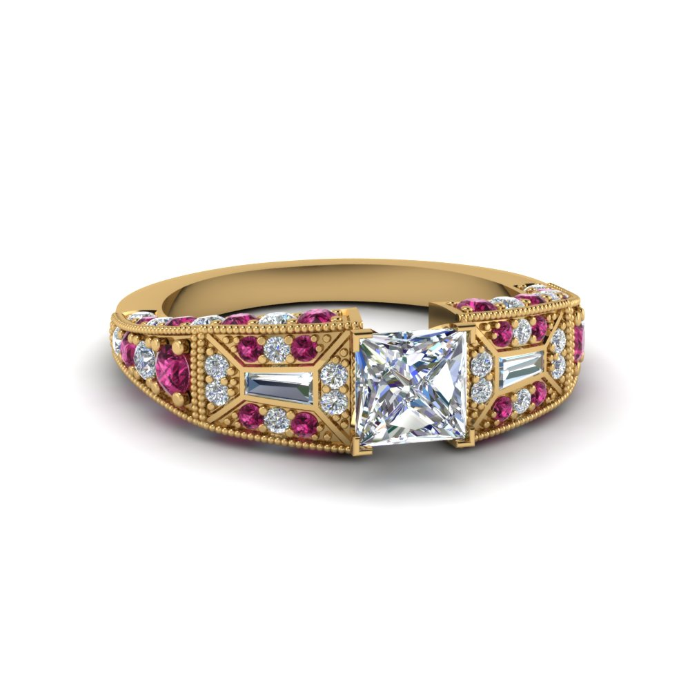 princess cut victorian vintage style diamond engagement ring with pink sapphire in FDENR8601PRRGSADRPI NL YG