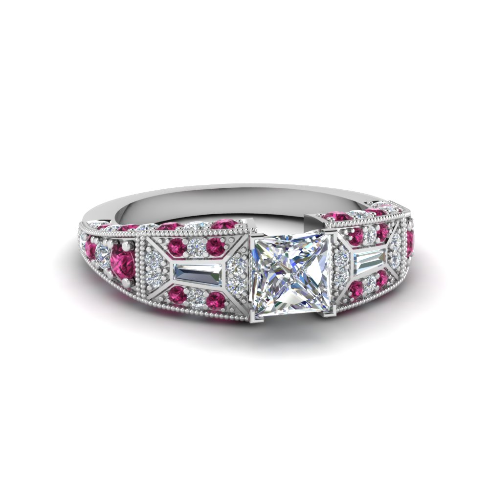 princess cut victorian vintage style diamond engagement ring with pink sapphire in FDENR8601PRRGSADRPI NL WG