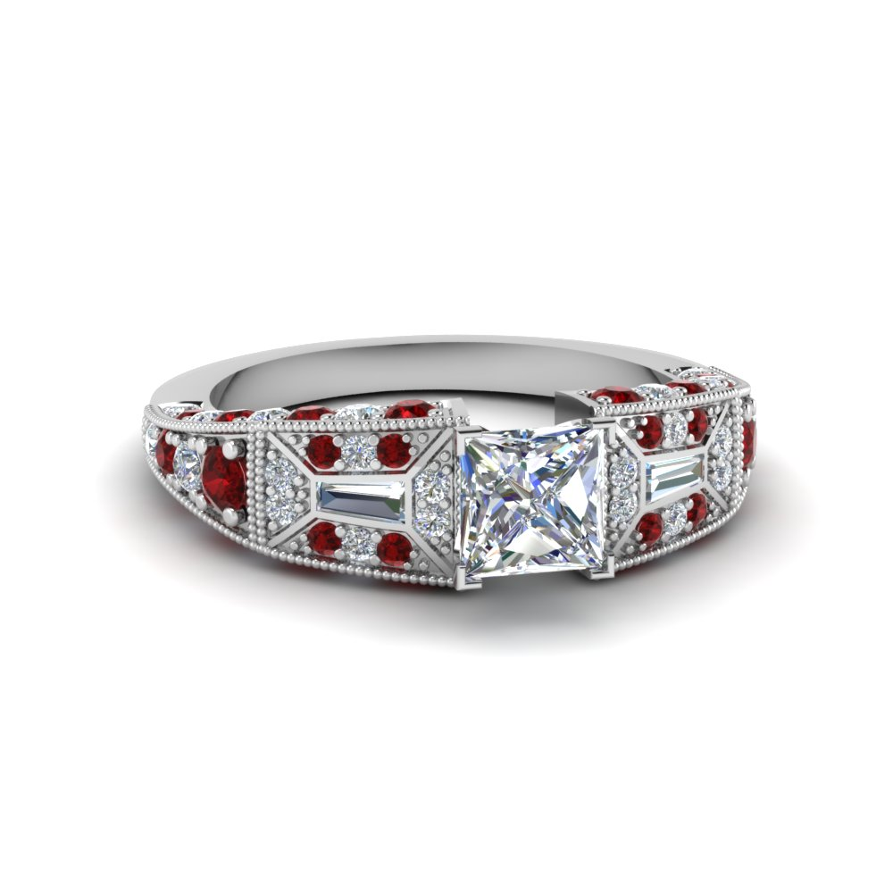 princess cut victorian vintage style diamond engagement ring with ruby in FDENR8601PRRGRUDR NL WG