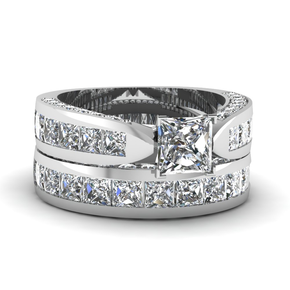 Princess Cut Pave Channel Accent Diamond Bridal Set In Fdens304pr Nl Wg