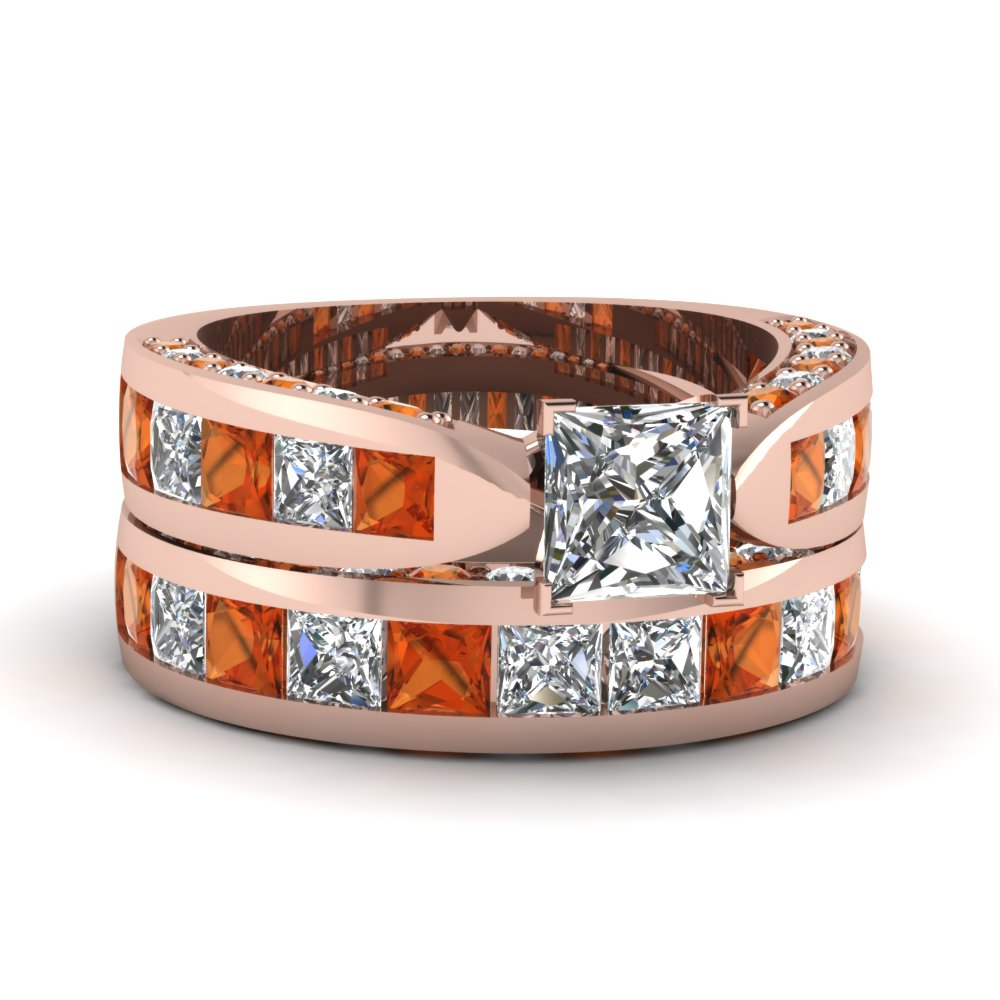 princess cut pave channel accent diamond bridal set with orange sapphire in 14K rose gold FDENS304PRGSAOR NL RG