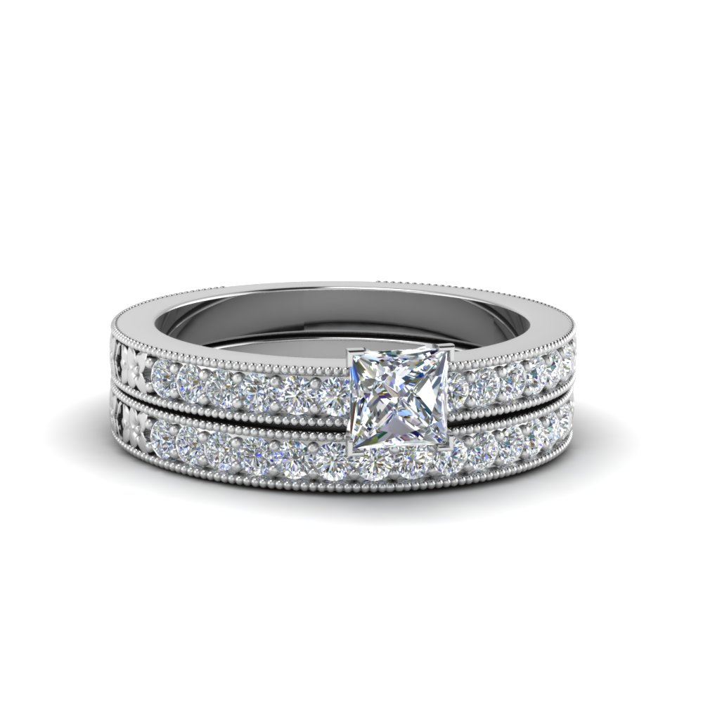princess cut pave diamond milgrain bridal set in FDENS3516PR NL WG