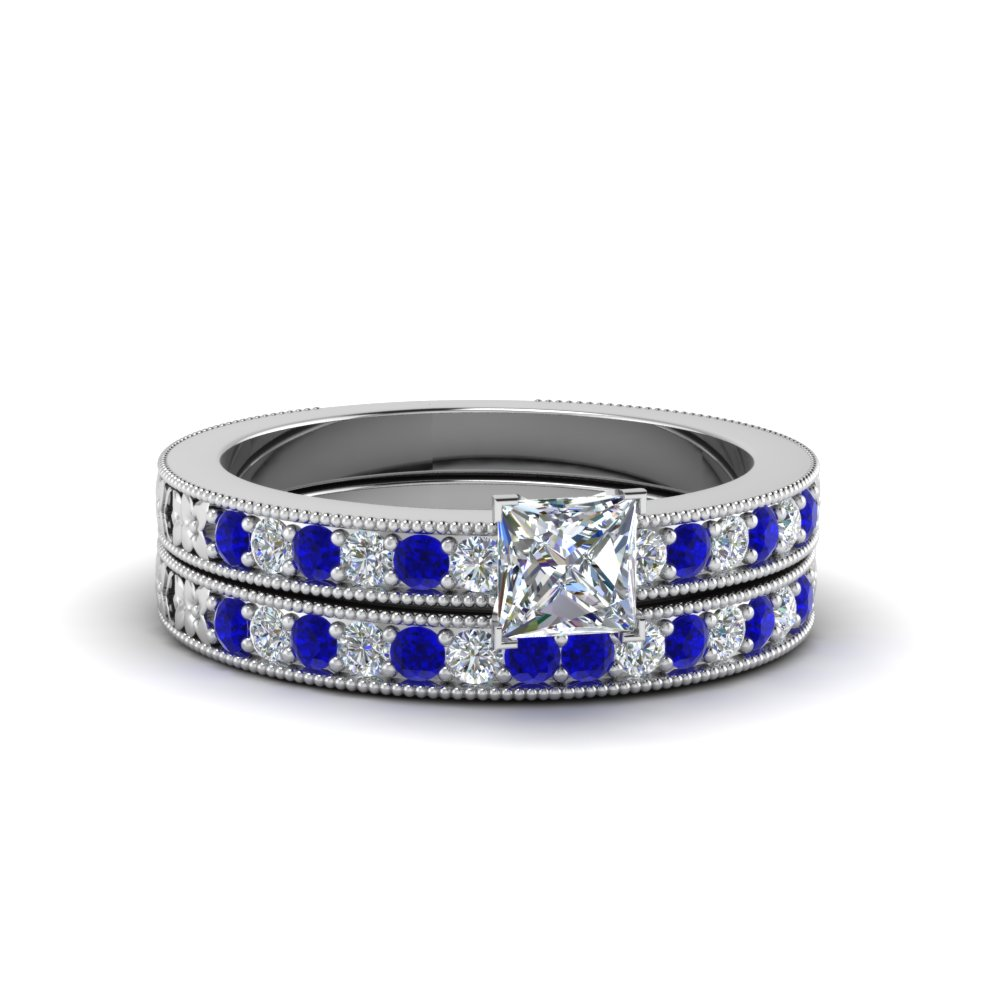 Princess Diamond & Blue Sapphire Wedding Set For Her