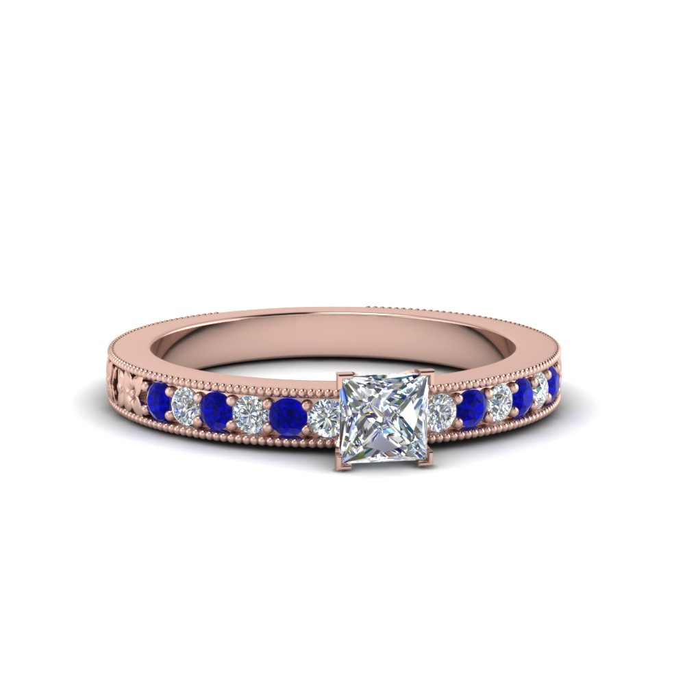 princess cut pave diamond milgrain engagement ring with blue sapphire in FDENS3516PRRGSABL NL RG