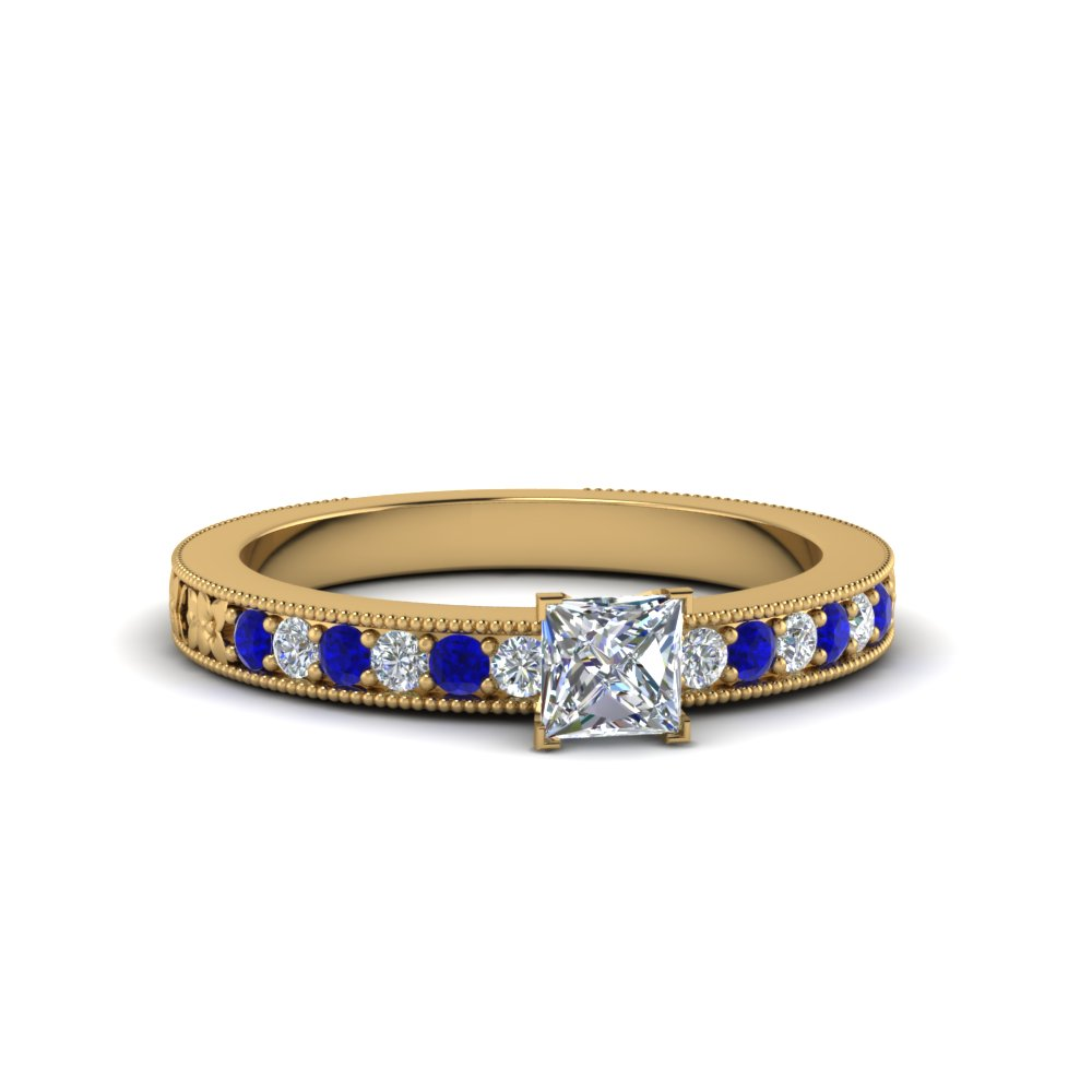 princess cut pave diamond milgrain engagement ring with blue sapphire in FDENS3516PRRGSABL NL YG