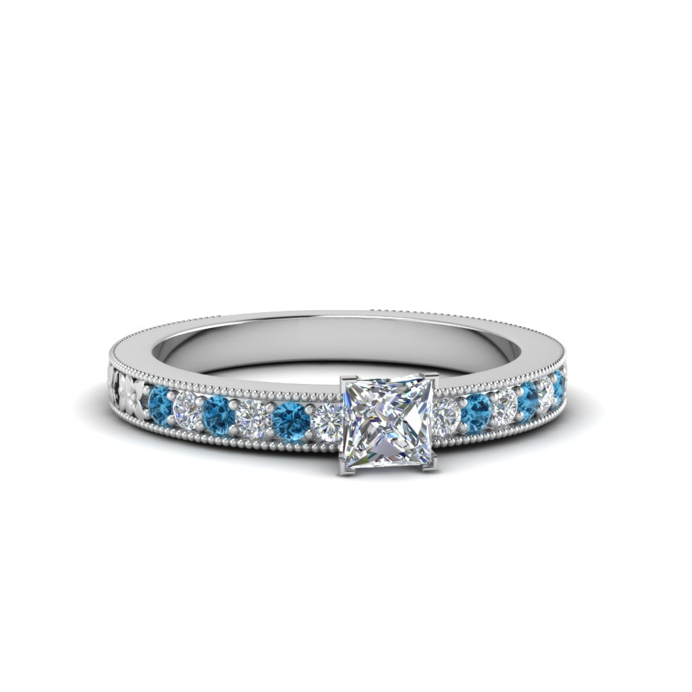 princess cut pave diamond milgrain engagement ring with ice blue topaz in FDENS3516PRRGICBLTO NL WG