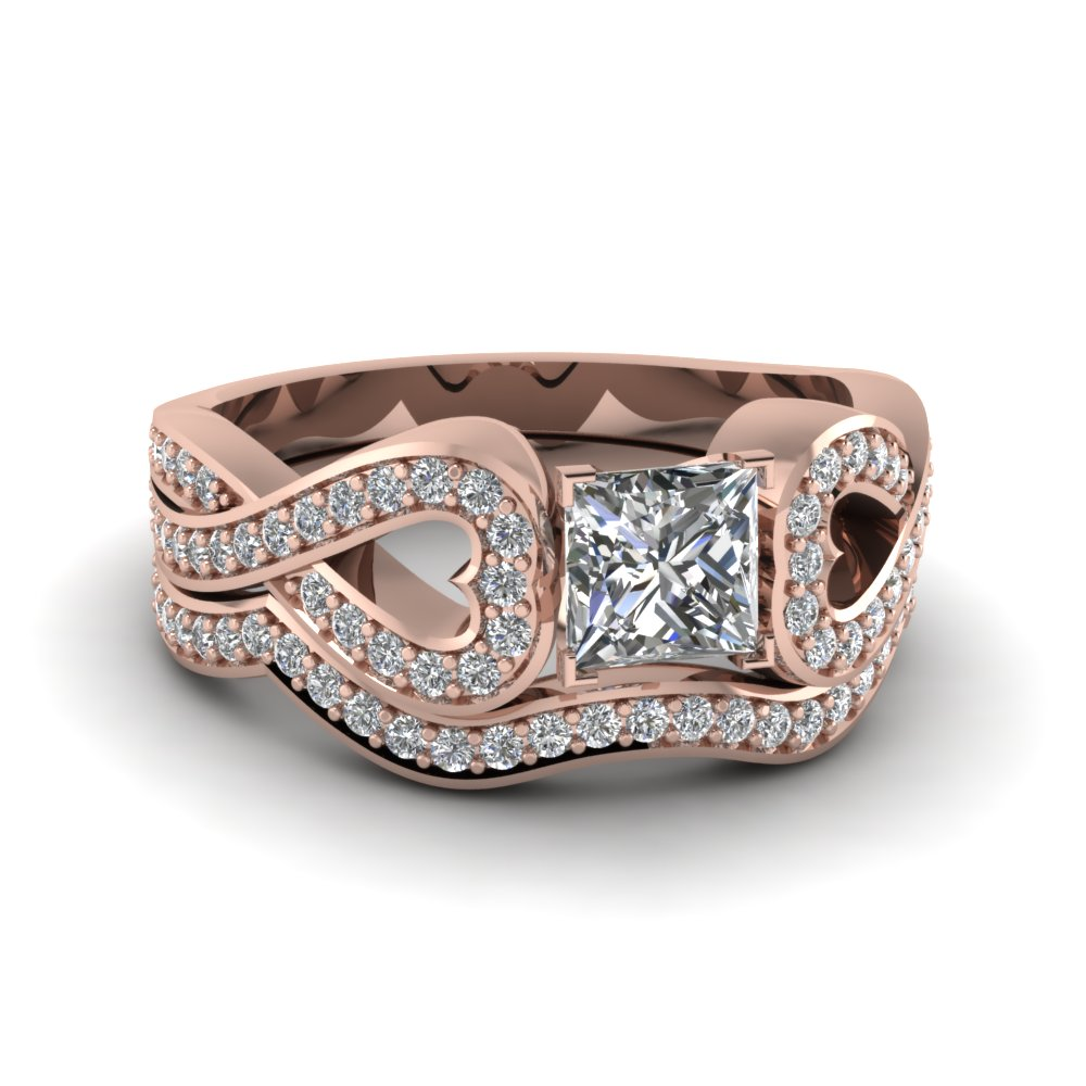 Princess Cut Entwine Ring Set
