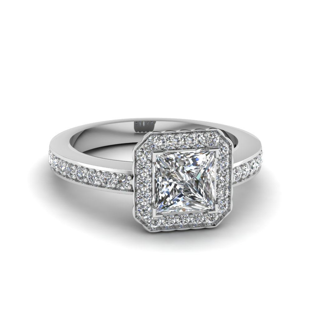 Square Diamond Halo Ring