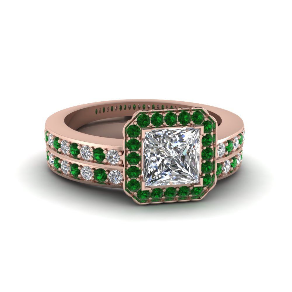 princess cut pave square halo wedding diamond ring set with emerald in FDENS3208PRGEMGR NL RG