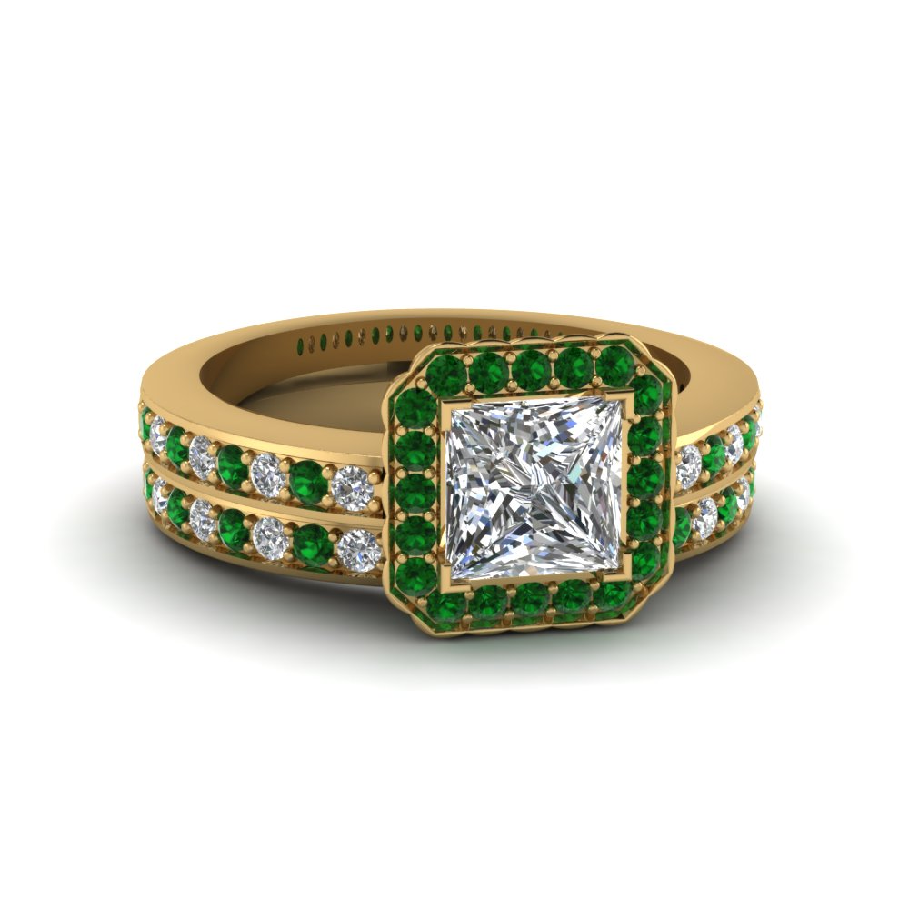 princess cut pave square halo wedding diamond ring set with emerald in FDENS3208PRGEMGR NL YG